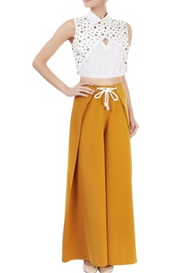 white-eyelet-top-ochre-yellow-pants
