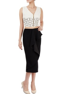 ivory-cropped-top-black-ruffle-skirt