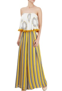 white-yellow-black-printed-tube-jumpsuit