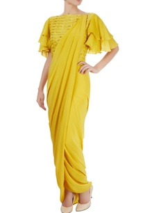 canary-yellow-sari-with-blouse