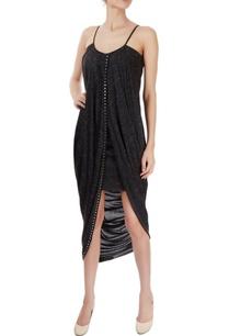 metal-grey-wrap-midi-dress