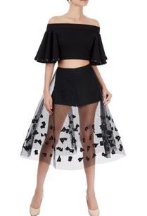 black-off-shoulder-top-with-mesh-skirt