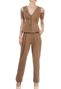 brown-peplum-top-pleated-trousers