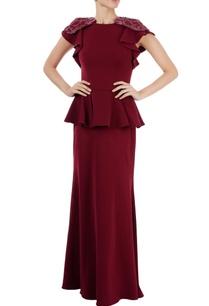 burgundy-peplum-gown