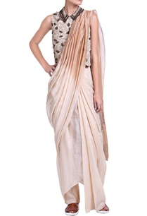 brown-cream-shaded-pant-sari-with-sequins-detailed-blouse