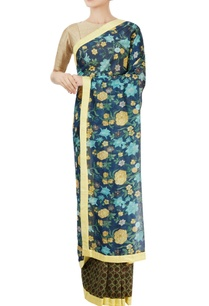 navy-blue-green-sari-with-floral-motif