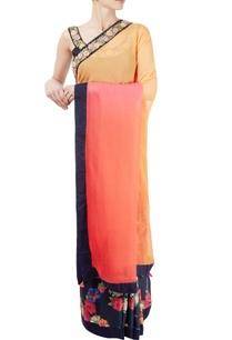 black-orange-ombre-sari