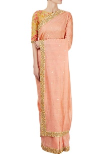 yellow-peach-embellished-sari