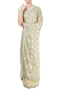 light-grey-beige-sari-with-floral-motif