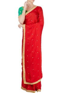 green-red-embroidered-sari