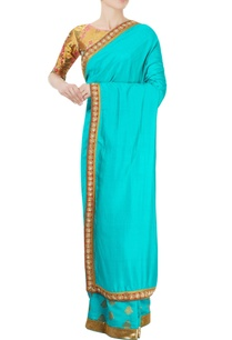 gold-blue-ombre-sari
