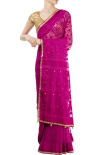 purple-sari-with-gold-border