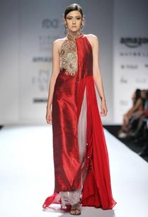 maroon-embellished-kurta-with-grey-palazzos