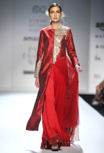 red-long-kurta-with-palazzo-pants