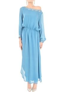 lapis-blue-one-shoulder-dress