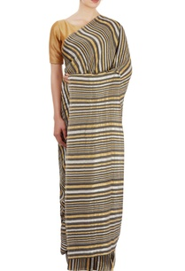 black-gold-silver-striped-sari
