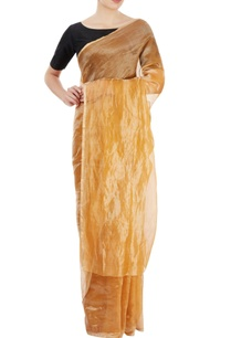caramel-orange-metallic-sari