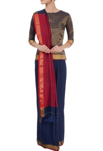 blue-sari-with-gold-border