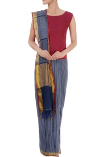 blue-striped-sari-with-red-blouse