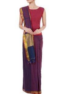 purple-blue-striped-sari