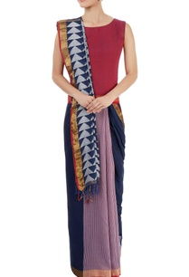 navy-blue-sari-with-stripes-triangle-pattern