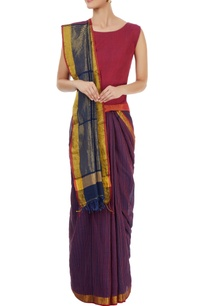 navy-blue-purple-striped-sari