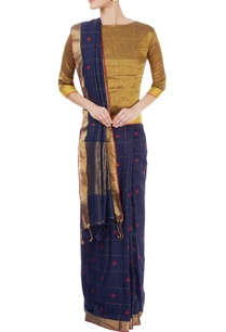 navy-blue-checked-sari-with-red-motifs