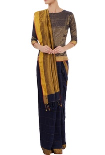 navy-blue-gold-sari-with-striped-blouse
