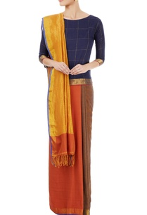 burnt-orange-yellow-paneled-sari