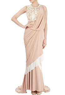 white-beige-sari-gown-with-tassels