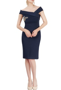 navy-blue-dress-with-beetle-motif