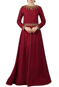 maroon-anarkali-with-beige-printed-churidar