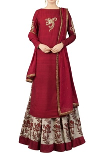 maroon-kurta-set-with-printed-lehenga