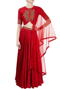 red-embroidered-jacket-lehenga-set