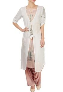 peach-kurta-set-with-white-jacket