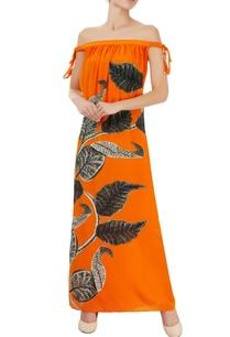 orange-off-shoulder-maxi-dress