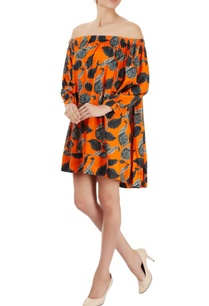 orange-printed-off-shoulder-dress