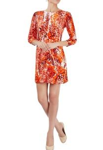 white-orange-printed-dress