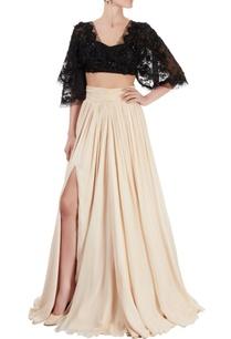 black-beige-embellished-lehenga-set