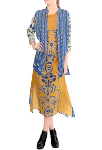 mustard-blue-printed-jacket-dress