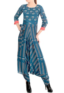 blue-printed-draped-jumpsuit
