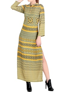 green-yellow-printed-dress