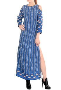 blue-printed-cold-shoulder-dress