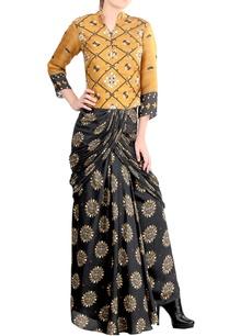yellow-mustard-grey-draped-sari