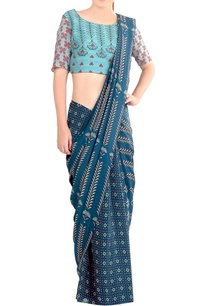 blue-printed-draped-sari