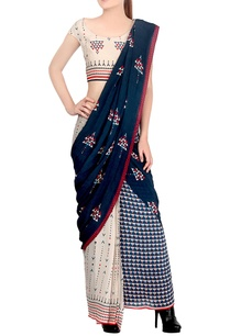 blue-off-white-draped-sari