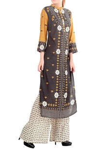 mustard-yellow-grey-printed-kurta-set