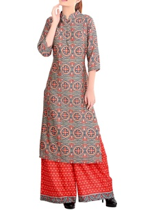 red-printed-kurta-set