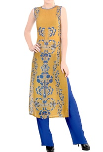 mustard-blue-printed-kurta-set