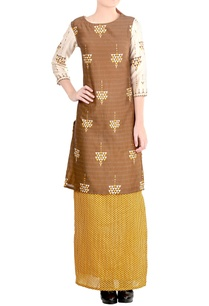 mustard-yellow-brown-printed-skirt-set